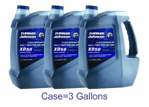 OEM BRP Johnson Evinrude E-Tec Case of (3) Gallons XD50 Outboard Motor Oil primary