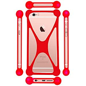 Casotec Universal Silicone Bumper Frame Soft Gel Phone Case Cover for Panasonic T41 - Red