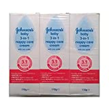Johnsons Baby 3 in 1 Nappy Care Cream with Zinc Oxide - 3 x 110gm