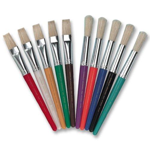 CKC5183 - Paint Brushes,Natural Bristles,Round,7-1/2 Hdle,10/ST,Asst.
