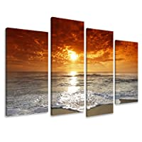 "Picture - art on canvas water length 51"" height 31,5"", four-part parts model no. XXL 6038 Pictures completely framed on large frame. Art print Images realised as wall picture on real wooden framework. A canvas picture is much less expensive than an oil pa"