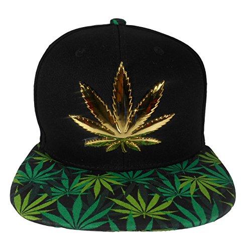Cap2Shoes-Mens-Marijuana-Metal-Weed-Leaf-Snapback-One-Size-Green