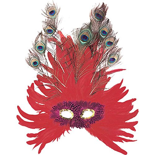Adult's Red Feather Peacock Eye Costume Mask