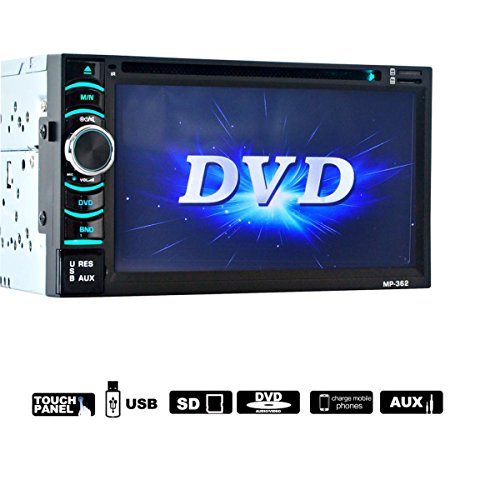 "Lacaca 6,5 ""doppio 2 DIN touch screen Car Stereo DVD lettore CD audio stereo Bluetooth USB SD AM FM Ricevitore TV Radio supporto controllo del volante AV Input/Output e telecamera posteriore"