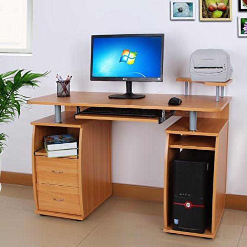 Songmics Scrivania per computer Scrivania ufficio porta PC Tavolo per Computer Con Ripiani Tastiera Scorrevole Faggio rosso LCD851R