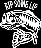 6 wide RIP SOME LIP with bass fish. White die cut vinyl decal sticker for any smooth surface such as windows bumpers laptops or any smooth surface.