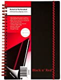 Black n' Red Twin Wire Poly Cover Notebook, 8-1/4 x 5-7/8 Inches, Black, 70 sheets/140 pages (C67009)