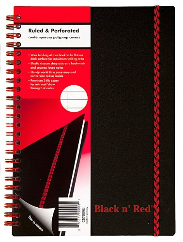 51PHlQMyCRL. SL500  Black n Red Twin Wire Poly Cover Notebook, 8 1/4 x 5 7/8 Inches, Black, 70 sheets (C67009)