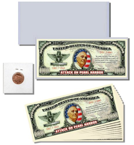 "13pc. Novelty Money Gift Set featuring ""Attack on Pearl Harbor 12/7/1941"" Million Dollar Bill"