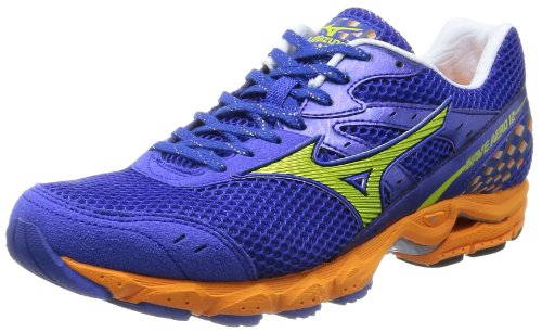 [ミズノ] MIZUNO WAVE AERO 12 WIDE [MEN'S] J1GC1436 40 (ブルー×ライム/255)