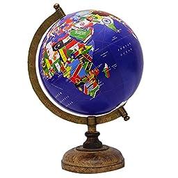 Decorative Rotating Blue Ocean Globe World Country Flags Table Decor 13\
