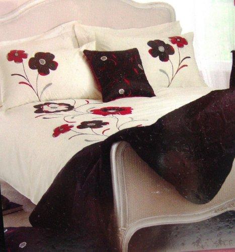 Ideal Textiles - Copripiumino ricamato, modello: Dauphine, colore: rosso/nero, rosso, Coppia