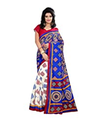 Anu Designer Self Print Saree (6409A_Multi-Coloured)