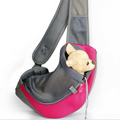 Pet Dog Cat Puppy Carrier Mesh Travel Tote Shoulder Bag Sling Backpack (Blue, L)