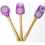 Colorful Silicone Rubber Spatula 3 Pcs Set With Wooden Handle - Perfect Kitchen Bakeware Kit