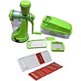 SDO Combo Of Green Manual Fruit Juicer With Vegetable Chopper & 6 In 1 Vegetable Slicer