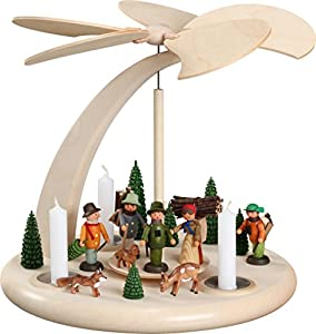 German christmas pyramid forest people, 1-tier, height 25 cm / 10 inch, natural, original Erzgebirge by Seiffener Volkskunst