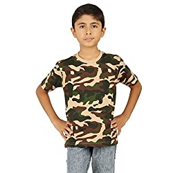 Clifton Boys Army T-Shirts Half Sleeve R-Neck -Saffari -S