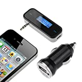 [With Car Charger]VicTsing® 3.5mm In-car FM Transmitter Radio Adapter for iPod iPad iPhone 6 5S 5C 5 5G 4S 4 3GS 3G Samsung Galaxsy S4 S3 Note 3 HTC One M7 / Mini Sony LG Blackberry Nokia Motorola, Tablet PC, MP3/MP4 Players Other Smart Phones & Audio Devices With 3.5mm Audio Jack