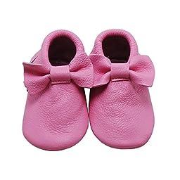Mejale Baby Soft Soled Leather Moccasins Tasssel Slip-on Infant Toddler Shoes Pre-walker,pink,24-36 months