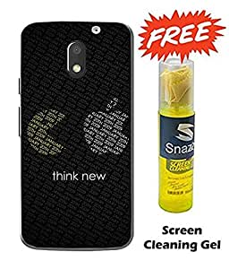 Case Cover Funny Logo Printed Black Hard Back Cover For Moto e3 Power Smartphone (Screen Cleaning Gel Free)