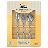 Ginkgo International Panda-Babies 3-Piece Baby & Toddler Stainless Steel Flatware Set ~ Ginkgo