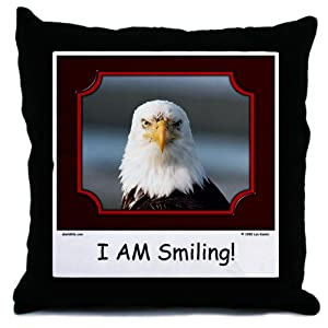 Amazon com i am smiling bald eagle throw pillow
