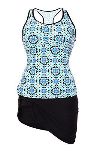 Aleumdr Women's Abstract Print Racerback Tankini Skirt Swimsuit Blue XXXL