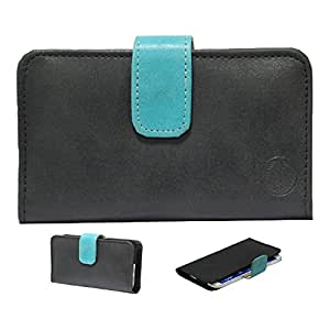 Jo Jo A8 Nillofer Leather Carry Case Cover Pouch Wallet Case For Lava Iris X8 Black Light Blue