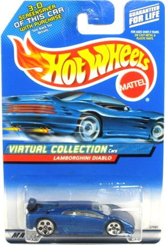 Hot Wheels Blue Lamborghini Diablo 2000 1:64 Scale Virtual Collection Die Cast Car #114 - 1
