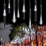 Outdoor Lights,LED Meteor Shower Rain Lights , Waterproof Garden Lights 30cm 8 Tubes 144leds Snow Falling Raindrop Cascading light for Holiday Wedding Xmas Tree Decor White Color
