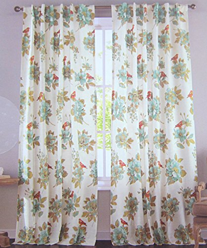 Country Floral Print Window Curtain Panels Pair 100% Cotton Drapes ...