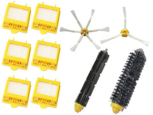 Shp-Zone Vacuum Cleaner Accessory Kit Replacement -Kit Includes: 6 Filters, 2 Side Brushes (3-Armed + 6-Armed) , 1 Flexible Beater Brush, 1 Bristle Brush For Irobot Roomba 700 Series 760 770 780 790 front-562806
