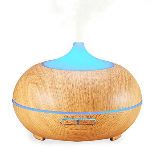 Essential Oil Diffuser, Amir® 300ml Wood Grain Cool Mist Ultrasonic Humidifier with 4 Timer Settings, 10 Hours Continuous Mist, 7 Color Changing LED for Spa,Baby Room,Etc