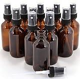 1 oz Amber Boston Round Glass Bottle with Fine Mist sprayer 12/bx