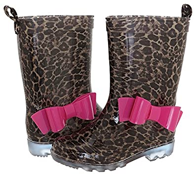 Amazon.com: Capelli New York Girl's Leopard Print Rain Boot w/ Bow