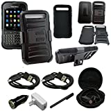 Mstechcorp - Blackberry Classic Heavy Duty Armor Style 2 Case with Holster - Includes [Car Charger] + [Touch Screen Stylus] + [Hands Free Earphone With Carrying Case] + [Wall Charger With 2 Data Cables] (HOLSTER BLACK)