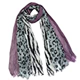 City Jungle Zebra Leopard Print Triple Layer Long Scarf Shawl - Various Colors