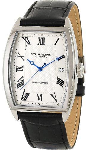 Stuhrling Original Men's 241.33152 Classic Madison Park Avenue Swiss Quartz Date Black Leather Strap Watch