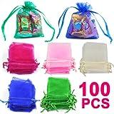 Beyondfashion 100 pcs Mixed-Color Gift Organza Bags/Jewellery Pouches - 7cm x 9cm
