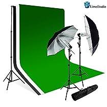 LimoStudio PHOTOGRAPHY STUDIO LIGHTING KIT BLACK UMBRELLA LIGHT MUSLIN BACKDROP WHITE BLACK GREEN BACDKROP KIT_AGG707
