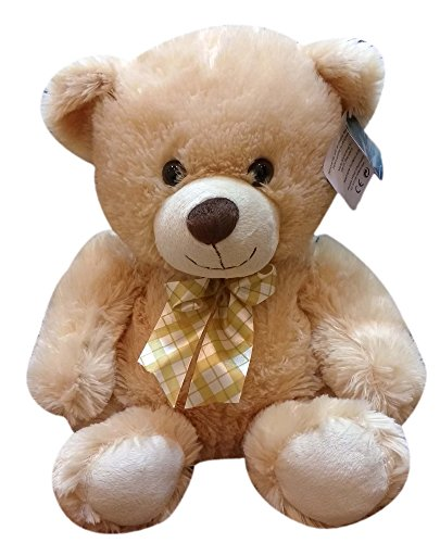 Star-Walk-MBE-SWK120-Teddy-Bear-Plush-with-Multicolor-Bow-Beige