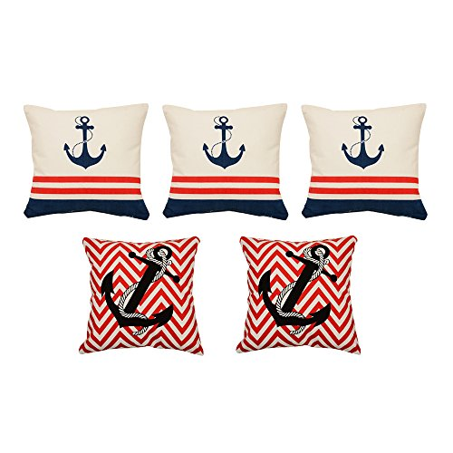 Khrysanthemum Oxford Cotton Mix Pattern Small And Large Anchor Cushion Cover (Set Of 5) - 16 X 16 Inches, Multi