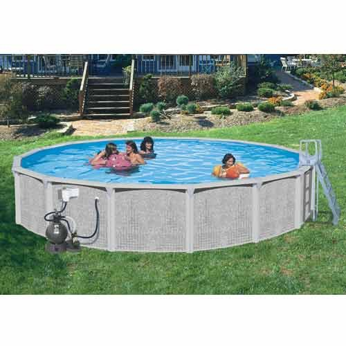 Splash pools round deluxe pool package 24 feet by 52 inch for Garden pool accessories