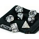 Polyhedral Dice Set | Black Smoke Swirl | 7 Piece | PRISTINE Edition | FREE Carrying Bag | Hand Checked Quality...