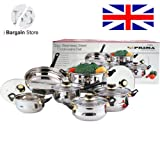 12pc Stainless metal Cookware Set Kitchenware 1 Saucepan (16x9.5cm) 4 Casserole (16x9.5cm, 18x10.5cm, 20x11.5cm, 24x13.5cm) and 1 Frypan (24x6.5cm)