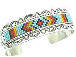 Beautiful! By Artist E.M.Linkin Genuine Navajo Mulit-Colored Beads on Sterling-silver Women's Bracelet