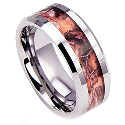King Will Tungsten Ring 8mm Camo Hunting Camouflage Wedding Band High Polished Beveled Edge
