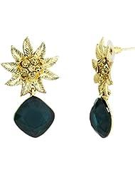 The Jewelbox Designer Star Flower Dangling Green Earring For Women