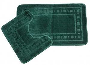 2 Piece Squares Design Dark Green Bathroom Bath Mat Set (Set) (Green)